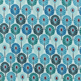 Coated cretonne cotton fabric - Duck blue Plume de paon x 10cm