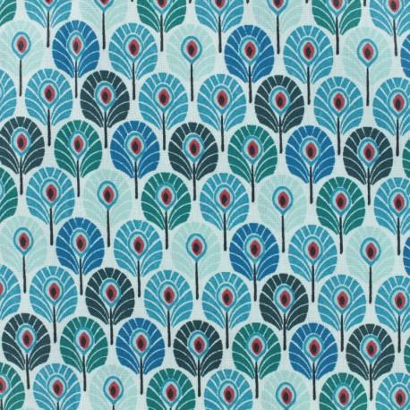 Tissu coton crétonne enduit Plume de paon - bleu canard x 10cm