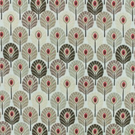 Coated cretonne cotton fabric - beige Plume de paon x 10cm