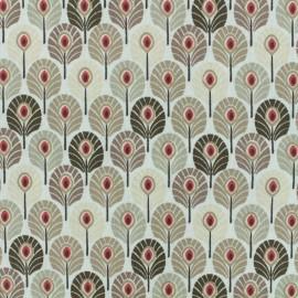 Tissu coton crétonne enduit Plume de paon - beige x 10cm