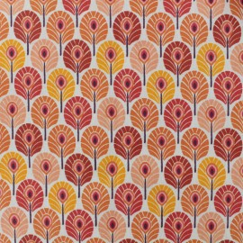 Tissu coton crétonne enduit Plume de paon - orange x 10cm