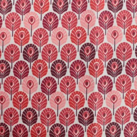 Coated cretonne cotton fabric - Red Plume de paon x 10cm