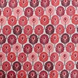 Tissu coton crétonne enduit Plume de paon - rouge x 10cm