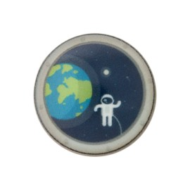 Polyester Button - Navy Astronaut