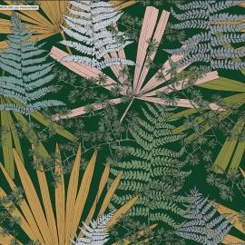 ♥ Coupon 225 cm X 280 cm ♥  toile coton Cèdre - vert sapin