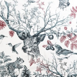Tissu toile de coton Poetic Forest - Crème  x 65cm