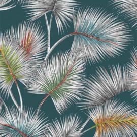 Tissu toile de coton Palmy - Bleu lagon x 50cm