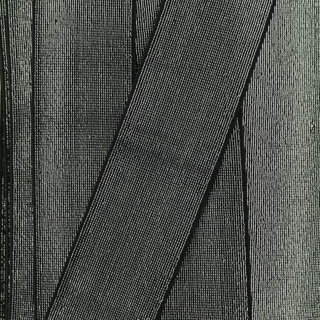 Elastique Plat Lurex Brillance 40mm - Noir/Argent x 1m