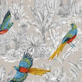 Tissu toile de coton Oiseau du Paradis - Ficelle  x 65cm