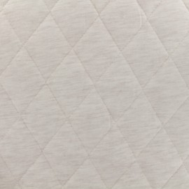 Quilted Flecked Jersey Fabric - ecru x 10cm