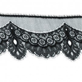 Lace of Calais® Ribbon Clémence - Black x 50cm