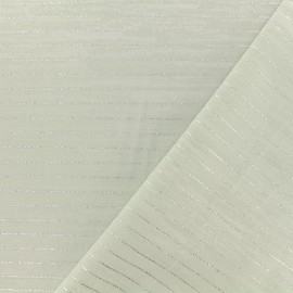 Tissu polycoton lurex - gris perle x 10cm