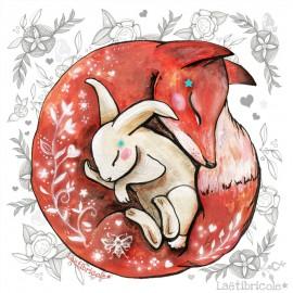 Coupon Velours Ras Laëtibricole - Renard et son lapin