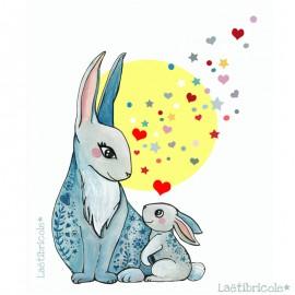 Laëtibricole polyester fabric - white rabbit