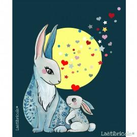 Laëtibricole polyester fabric - navy blue rabbit