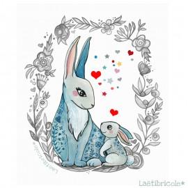 Coupon polyester Laëtibricole - lapin couronne de fleur