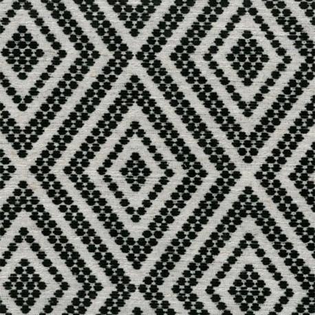 Tissu Jacquard velours Folklore - noir x 10cm