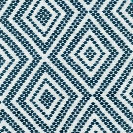 Tissu Jacquard velours Folklore - Bleu lagon x 10cm