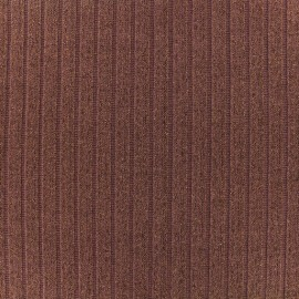 Tissu jersey maille côtelé Lurex - Bois de rose x 10cm