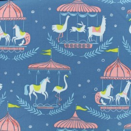 Dear Stella Poplin fabric - Blue Enchanted carousel x 10cm