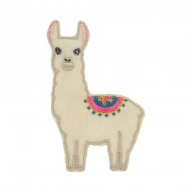 Felt Chilean Lama Iron-On Patch - Beige