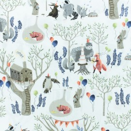 Dear Stella Poplin fabric - white Forest Party x 10cm