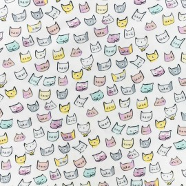 Dear Stella Poplin fabric - white Pastel cat x 10cm