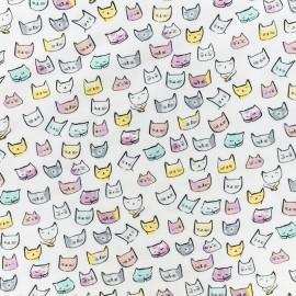 Tissu Popeline Dear Stella Pastel cat - Blanc x 10cm