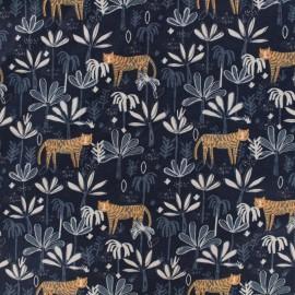 Tissu Popeline Dear Stella Tigre minuit - Bleu x 10cm