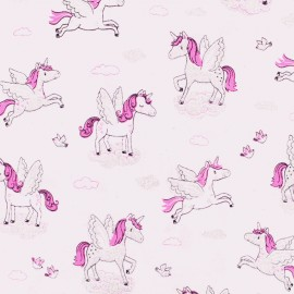 Cotton fabric - Blush Winged Unicorn x 10cm