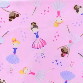 Tissu coton Ballerina - Rose/Pailette x 10cm