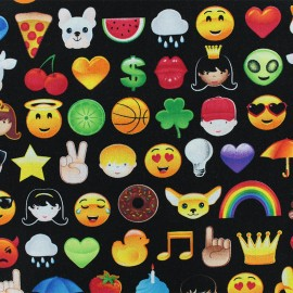 Timeless Treasures Cotton fabric - Black Emoji x 10cm