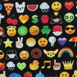 Tissu coton Emoji - noir x 10cm
