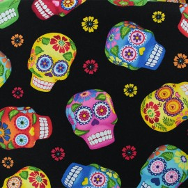 Cotton fabric - Black Pop Calavera x 10cm