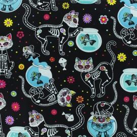 Cotton fabric - Black Pop Calavera x 10cm