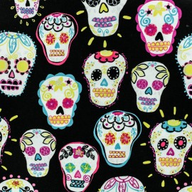 Cotton fabric - Black Glitter calavera x 10cm
