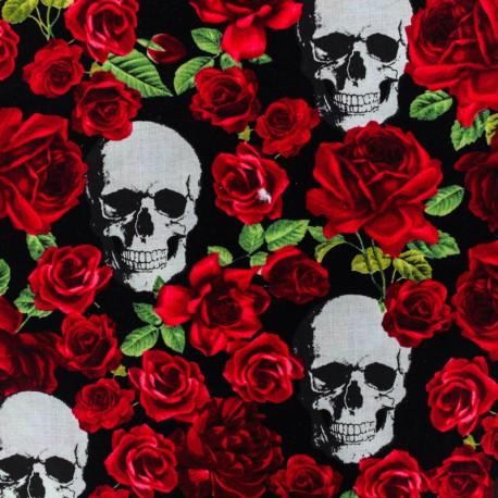 Cotton fabric - Black  Skull'n Roses x 10cm