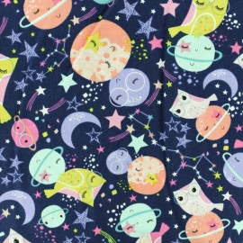 Timeless Treasures Cotton fabric - Navy Blue Loving planet x 10cm