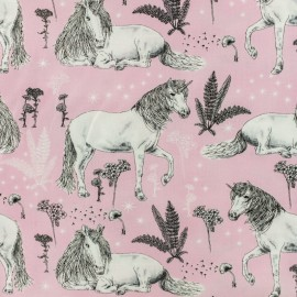 Timeless Treasures Cotton fabric - Pink Wild Unicorn x 10cm