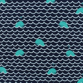 Thick Swimsuit Lycra fabric - Navy blue whale x 10cm