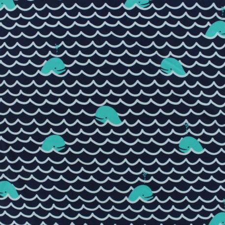 Tissu Lycra Maillot de bain Baleines - bleu marine x 10cm