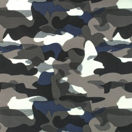 Tissu Lycra Maillot de bain Camouflage - bleu x 10cm