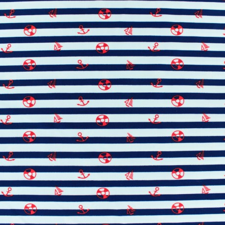 Thick Swimsuit Lycra fabric - Marina - red and white stripes x 10cm