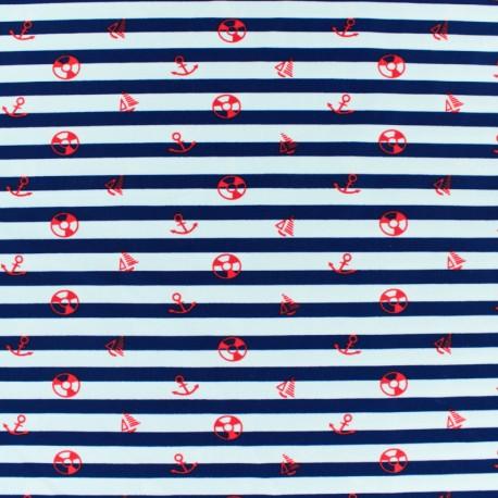 Tissu Lycra Maillot de bain Marina - rouge et blanc x 10cm