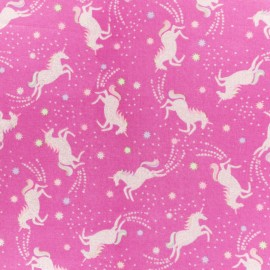 Timeless Treasures Cotton fabric - Pink jumping unicorn x 10cm