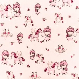 Timeless Treasures Cotton fabric - Pink jumping Unicorn x 10cm