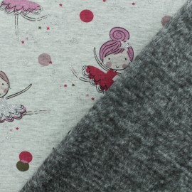 Sweatshirt fabric with minkee reverse - Grey / pink Ballerina x 10cm