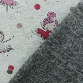 Tissu sweat envers minkee Ballerina - gris /rose x 10cm