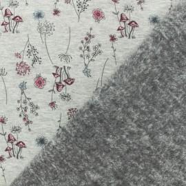 Tissu sweat envers minkee jardin d'automne gris/rose x 10cm
