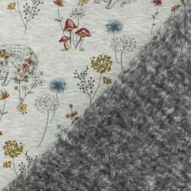 Tissu sweat envers minkee Ninon l'hérisson gris/jaune x 10cm